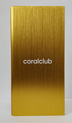 Powerbank with Coral Club logo, gold